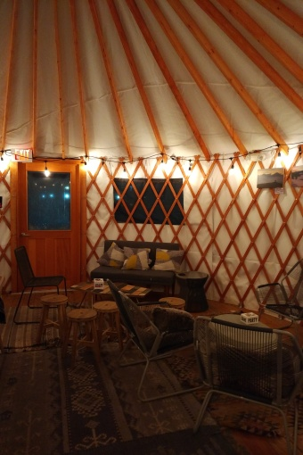 Drank beer in a yurt at Outer Range